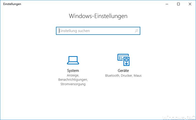 Optionen der Windows 10 Einstellungs-App ausgeblendet