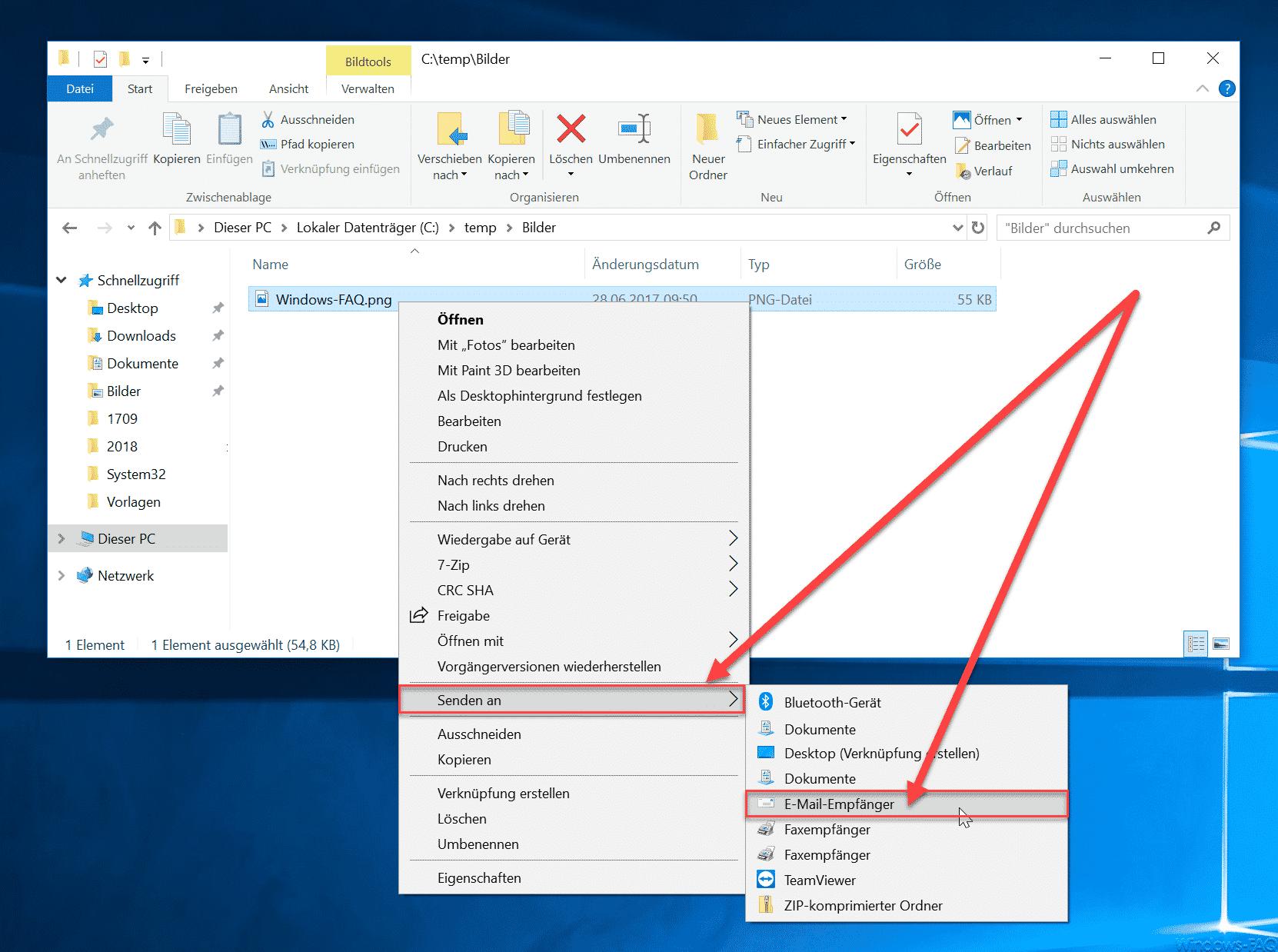 Senden an E-Mail-Empfänger