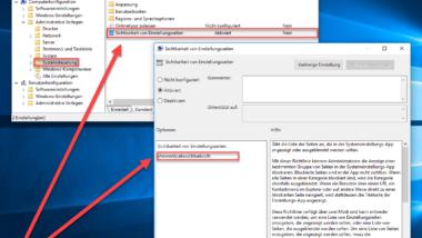 Seiten und Optionen aus der Windows 10 Einstellungs-App ausblenden bzw. entfernen