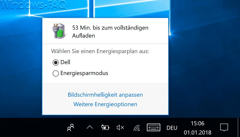 Windows 10 Altbekannte Batterie Anzeige
