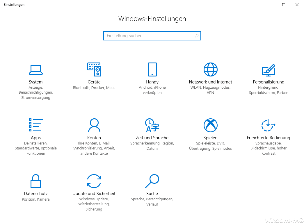 Windows 10 Einstellungs-App Fall Creators Update
