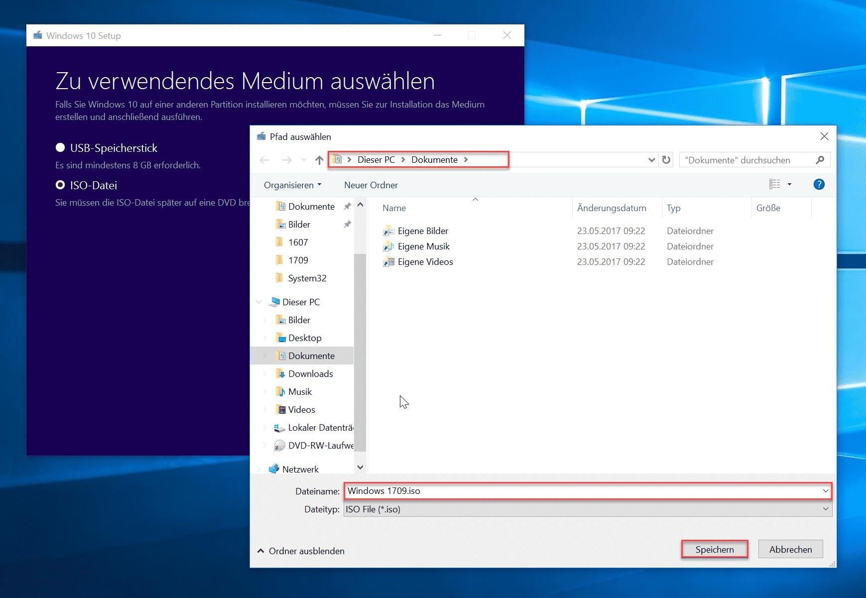 Windows 10 Setup Speicherort wählen