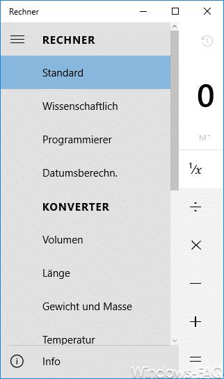Windows 10 Taschenrechner Funktionen