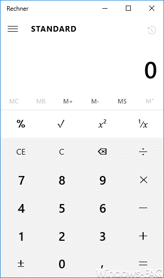 Windows 10 Taschenrechner