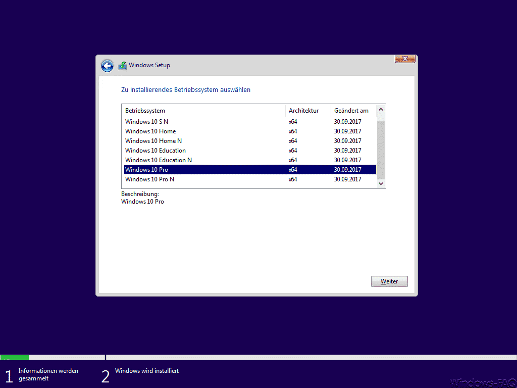 Windows 10 Zu installierendes Betriebssystem auswählen