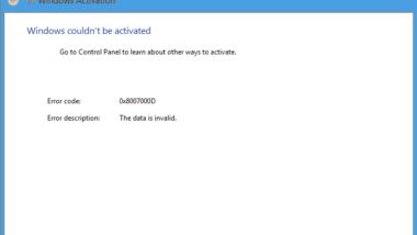Windows Aktivierungsfehler 0x8007000D
