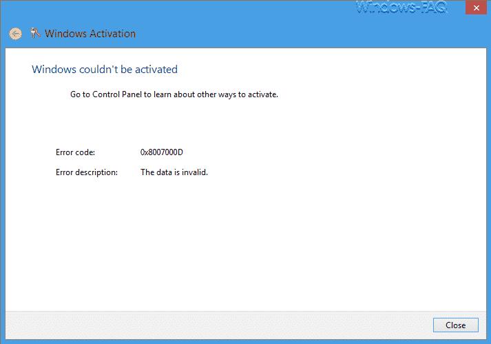 Windows Aktivierung 0x8007000D