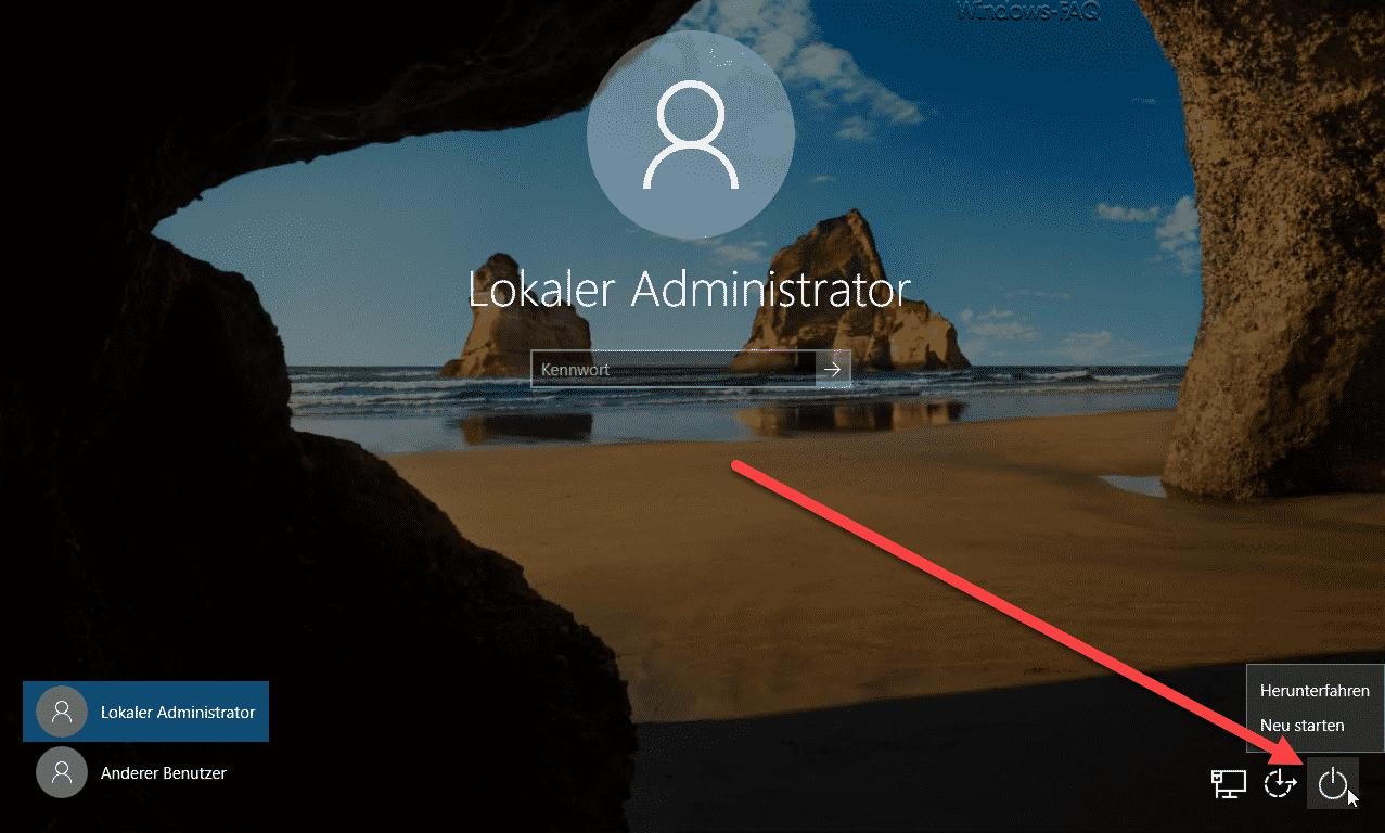 Windows Anmeldung mit Herunterfahren Möglichkeit
