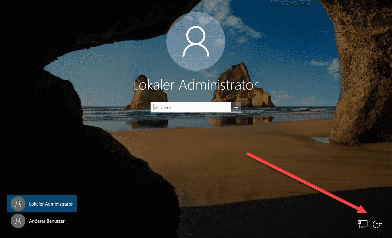 Windows Anmeldung mit deaktivierter Herunterfahren Möglichkeit