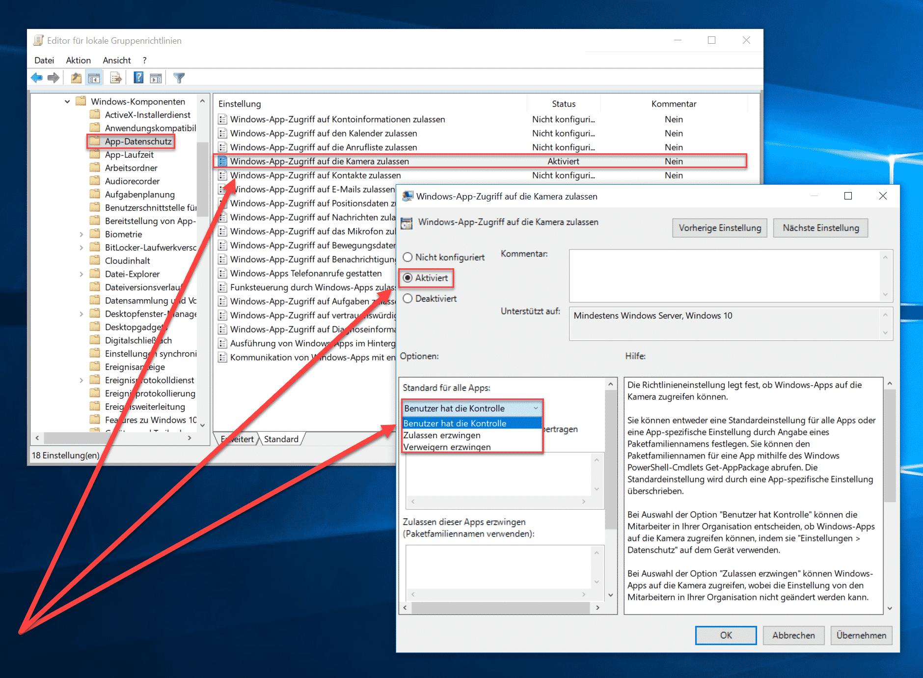 Windows-App-Zugriff auf die Kamera zulassen