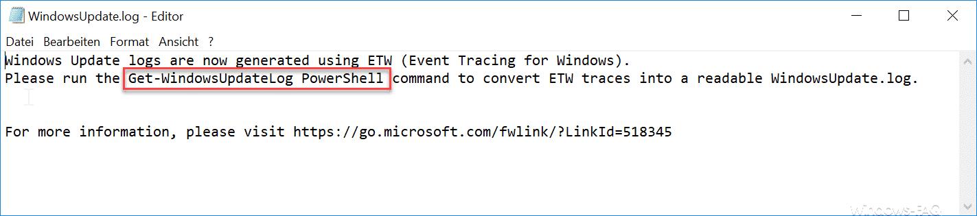 WindowsUpdate.log Hinweis