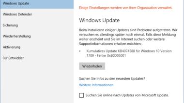 0x80D05001 Fehlercode beim Windows 10 Update
