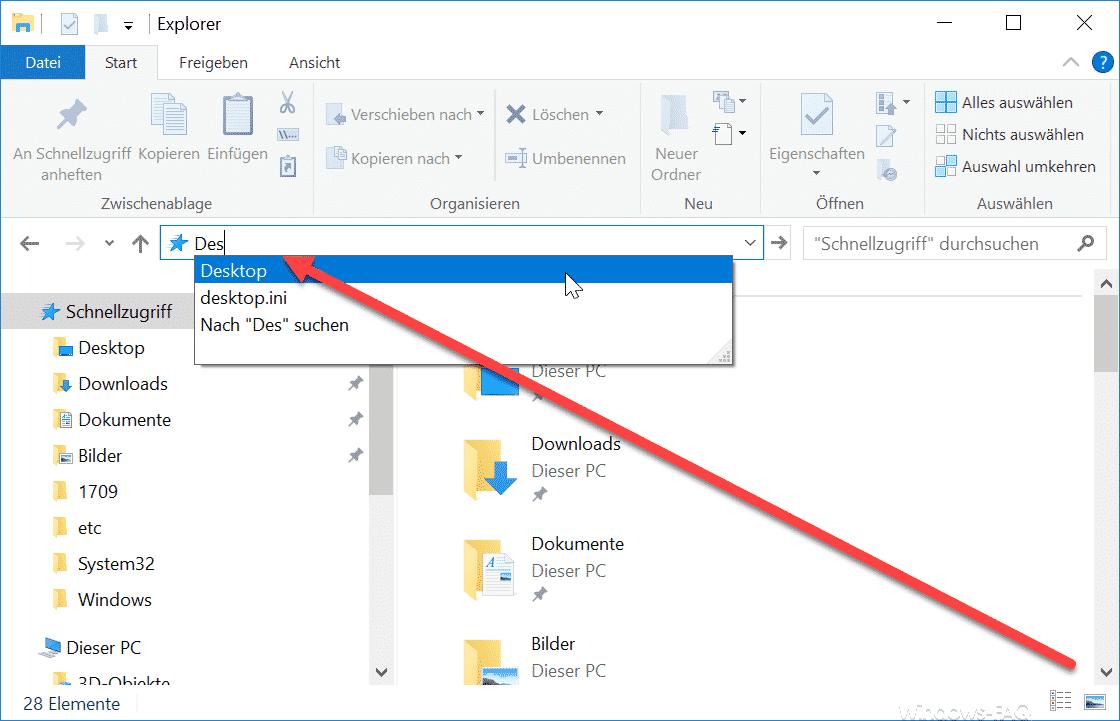 Auto Vervollständigen im Windows Explorer