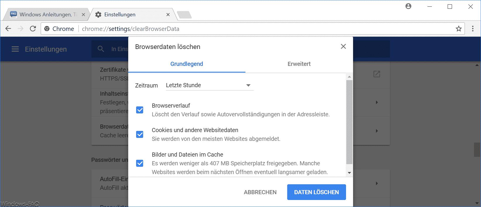 Chrome Browserdaten löschen Grundlegend oder Erweitert