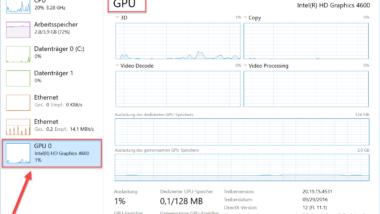GPU Leistung im Windows Taskmanager anzeigen