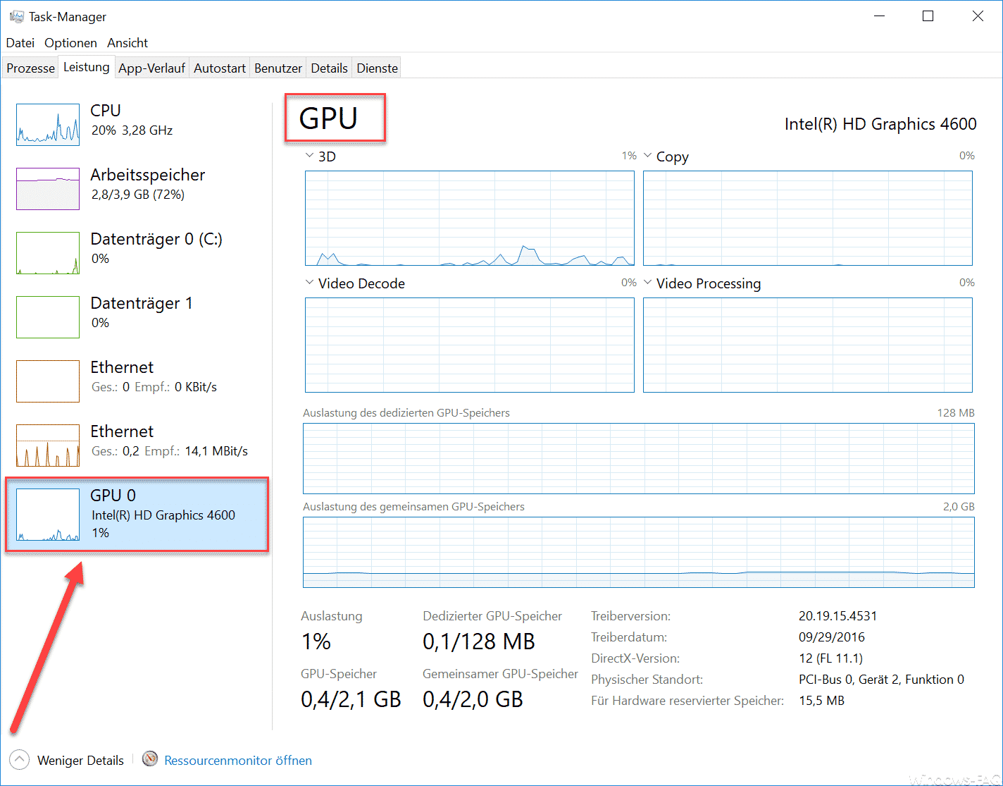 GPU Windows Taskmanager
