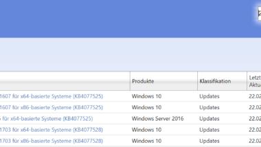 KB4077528 und KB4077525 für Windows 10 1703 und 1607 erschienen