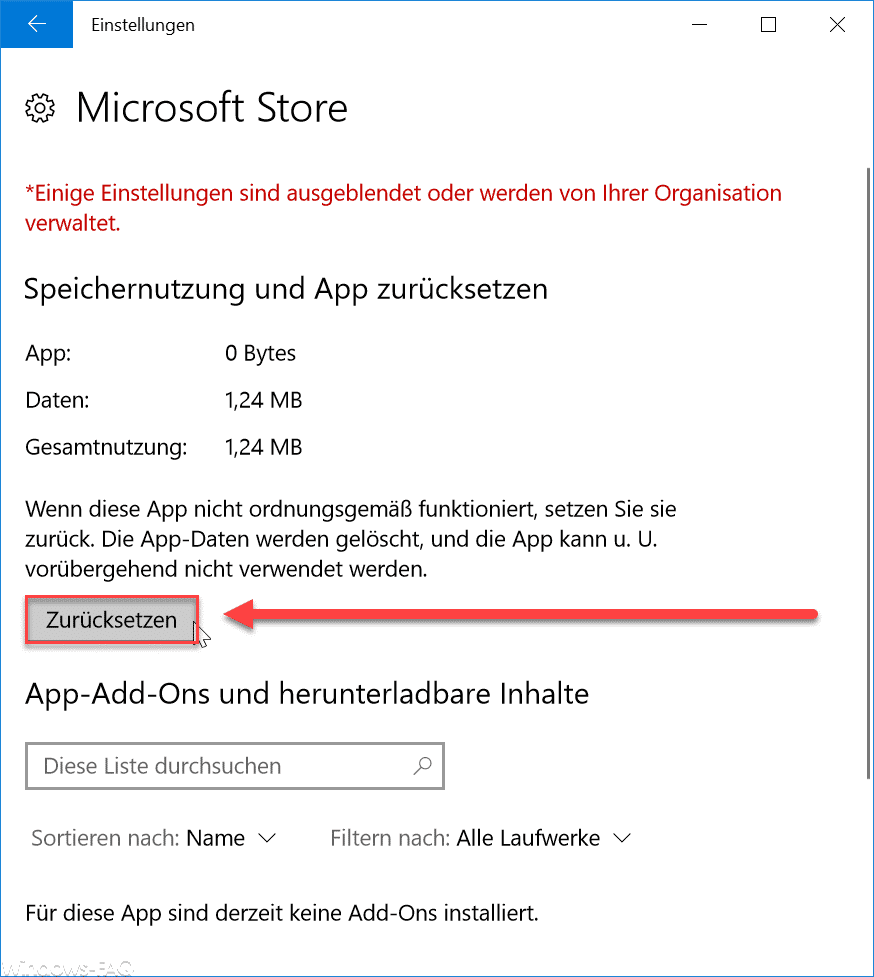 Microsoft Store zurücksetzen