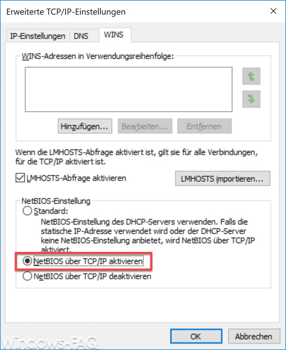NetBIOS über TCP/IP aktivieren