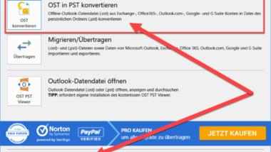 Outlook OST Datei in eine PST Datei umwandeln mit OST2