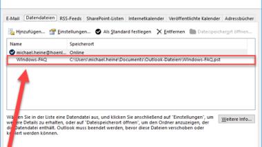 Backup der Outlook PST Datei erstellen