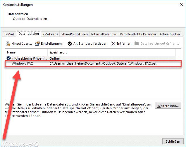 PST Datei Outlook 2016