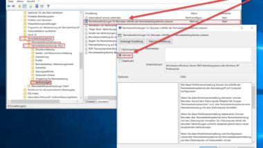 Remote Desktop Verbindungen durch eine Gruppenrichtlinie zulassen