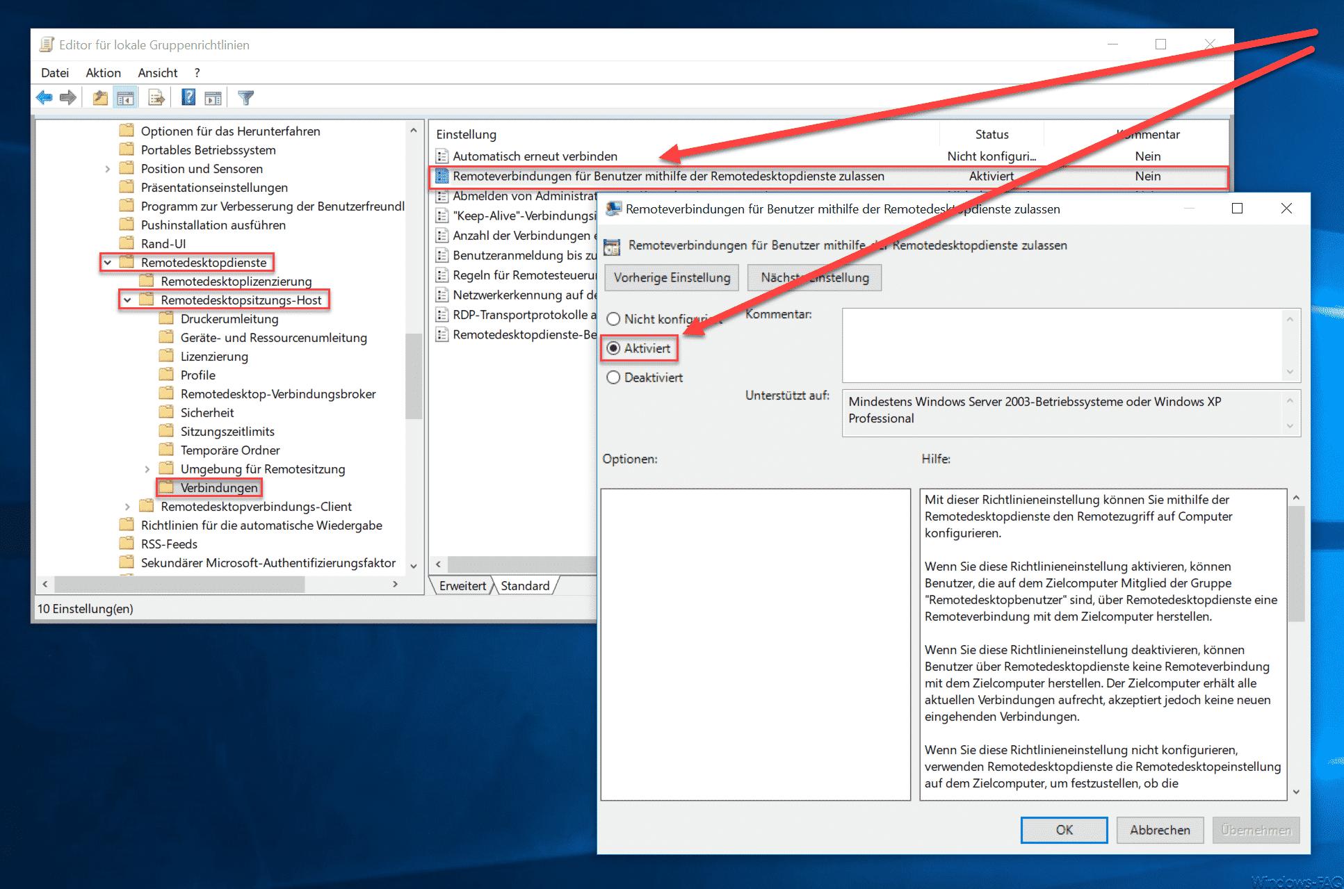 Remoteverbindungen für Benutzer mithilfe der Remotedesktopdienste zulassen