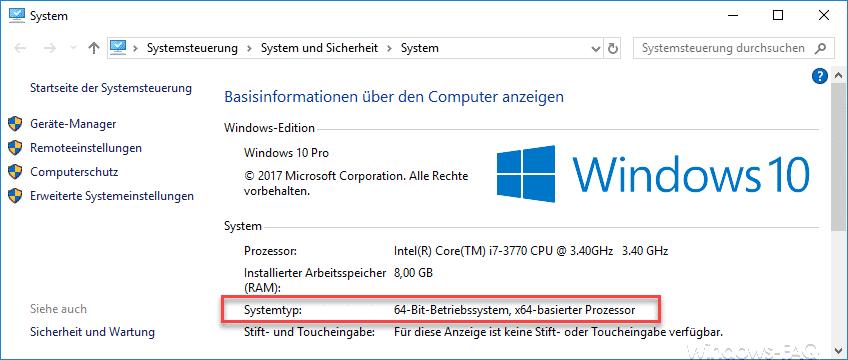 Systemtyp über Windows-Taste + Pause aufrufen