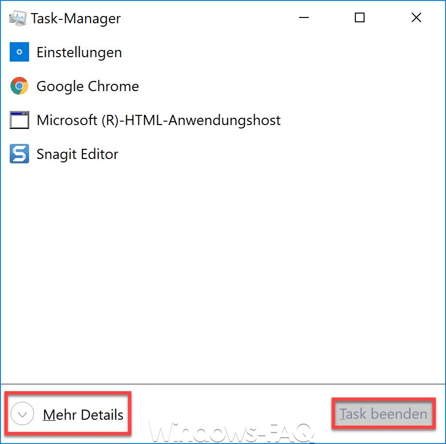 Task-Manager Mehr Details