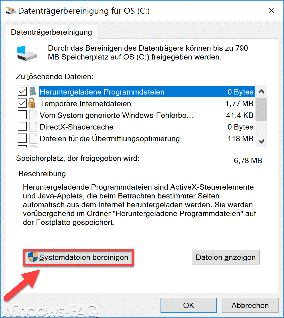 Windows 10 Datenträgerbereinigung