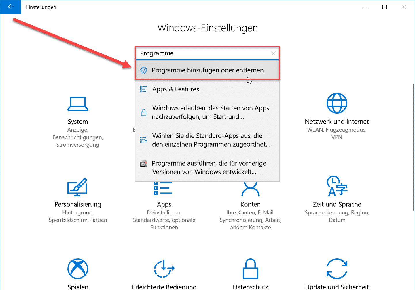 Windows 10 Programme hinzufügen oder entfernen