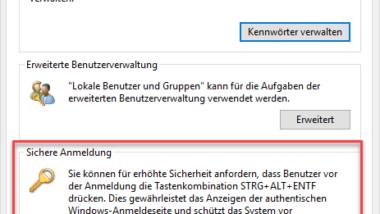 Sichere Anmeldung mit ALT + STRG + ENTF bei Windows aktivieren