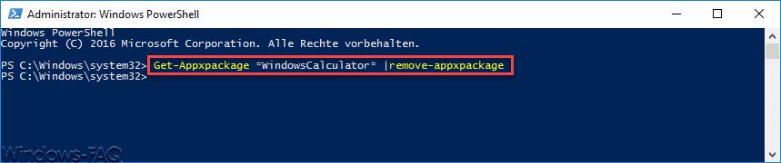 Windows Taschenrechner deinstallieren