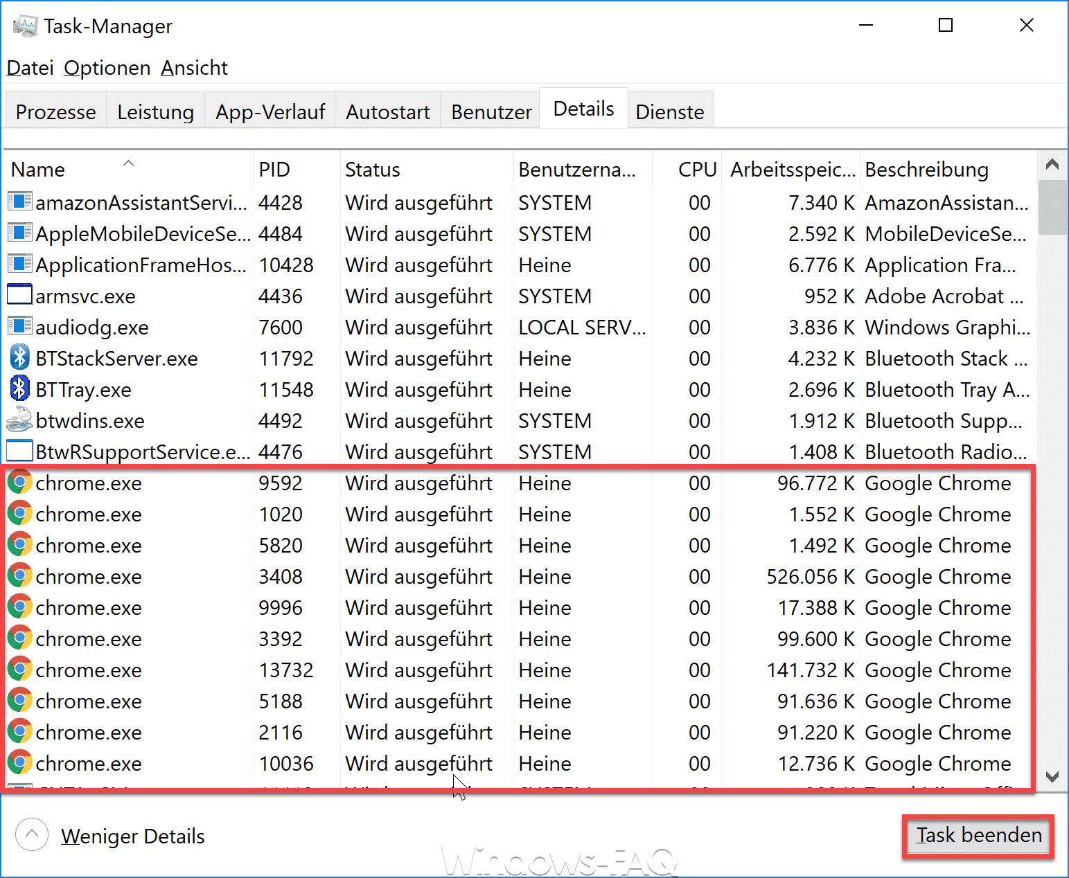 Windows Taskmanager Details