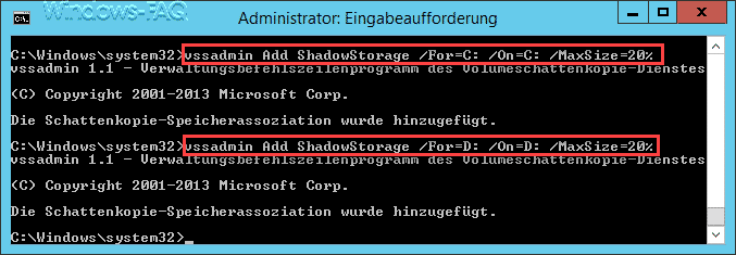 vssadmin Add ShadowStorage