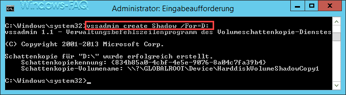 vssadmin create Shadow