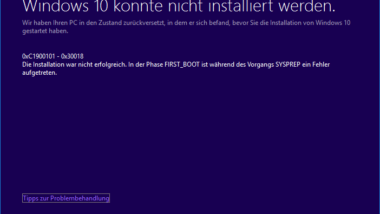 Windows Update Fehlercode 0xC1900101 – 0x30018