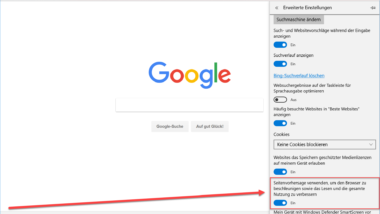 Microsoft Edge Seitenvorhersage (Prefeching) ausschalten