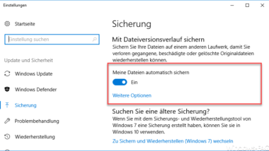 Dateiversionsverlauf bei Windows 10