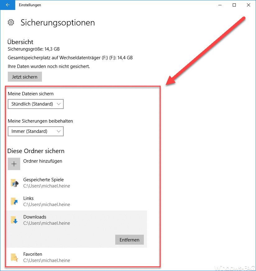 Windows 10 Sicherungsoptionen