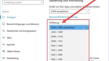 Bildschirmauflösung ändern bei Windows 10