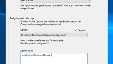 Ereignisprotokollierung (Event Tracker) beim Herunterfahren vom Windows 10 aktivieren (Registry)
