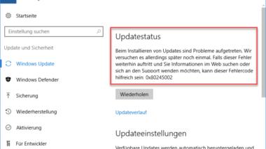 0x80245002 Fehlercode beim Windows Update