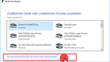 Netzwerkdrucker bei Windows 10 verbinden