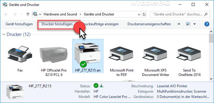 Geräte und Drucker - Drucker hinzufügen
