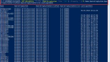 Liste aller XP PC´s im AD (Active Directory) erstellen