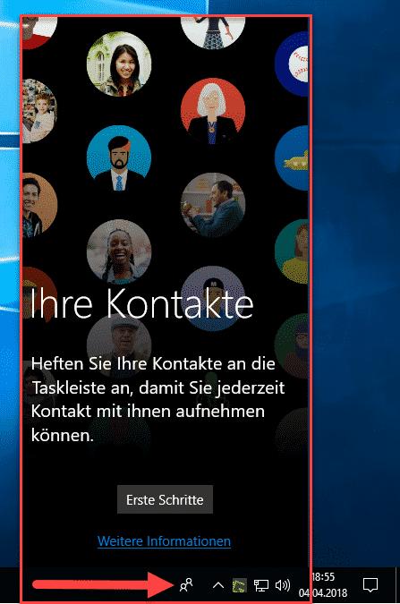 Ihre Kontakte aus Windows 10 Taskleiste entfernen