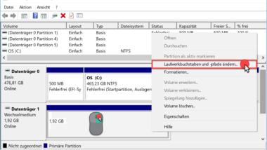 Laufwerksbuchstabe ändern bei Windows 10