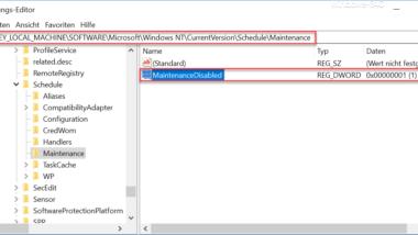 Die automatischen Wartungstasks bei Windows 10 deaktivieren